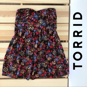Torrid Strapless Black Bold Floral Edgy Sundress